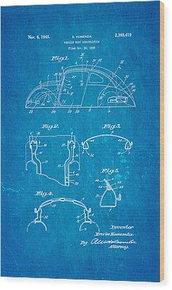 Komenda Vw Beetle Body Design Patent Art 1945 Blueprint Wood Print by Ian Monk