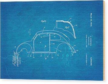 Komenda Vw Beetle Body Design Patent Art 2 1944 Blueprint Wood Print by Ian Monk