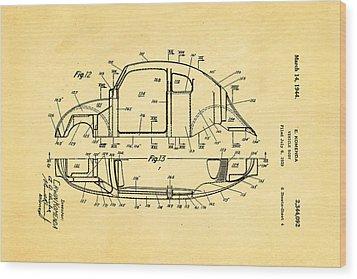 Komenda Vw Beetle Body Design Patent Art 3 1944 Wood Print by Ian Monk