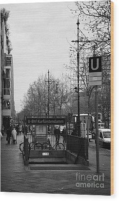 Kufurstendamm U-bahn Station Entrance Berlin Germany Wood Print by Joe Fox