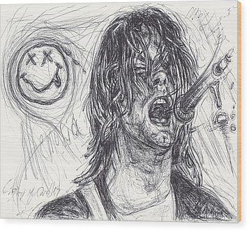 Kurt Cobain Wood Print by Michael Morgan