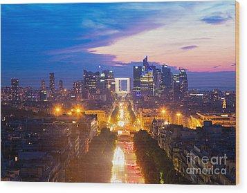La Defense And Champs Elysees At Sunset In Paris France Wood Print by Michal Bednarek