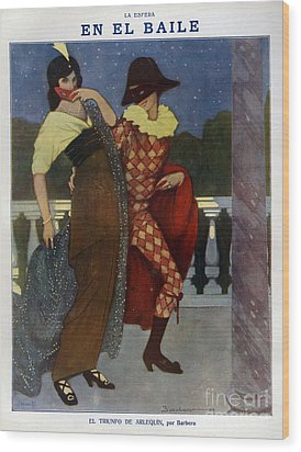 La Esfera 1910s Spain Cc Harlequins Wood Print by The Advertising Archives