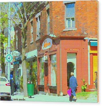 La Hacienda Resto Rue De L'epee Et Van Horne Outremont Montreal Spring City Scene Carole Spandau Wood Print by Carole Spandau