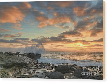 La Jolla Cove At Sunset Wood Print by Eddie Yerkish