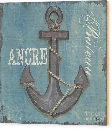 La Mer Ancre Wood Print by Debbie DeWitt