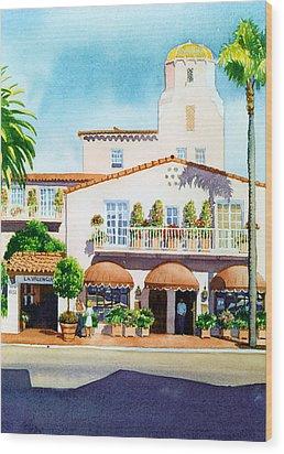 La Valencia Hotel Wood Print by Mary Helmreich
