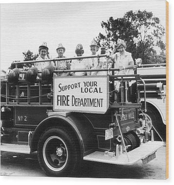 Ladies Supporting Fire Department Wood Print by Retro Images Archive