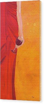 Lady In Red Wood Print by Debi Starr