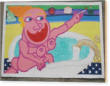 Lady In The Tub Wood Print by Matthew Brzostoski