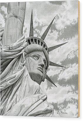 Lady Liberty  Wood Print by Sarah Batalka