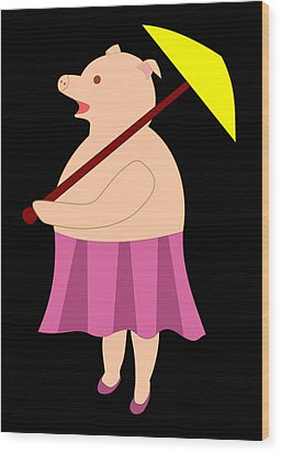 Lady Pig With Umbrella Wood Print by John Orsbun