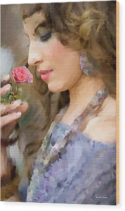 Lady With Pink Rose Wood Print by Angela A Stanton