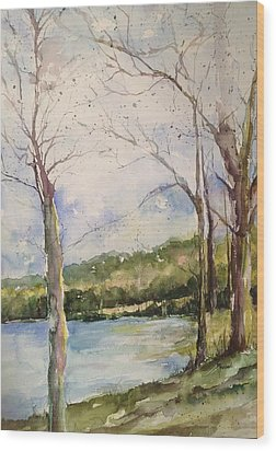 Lake #1 North Little Rock Wood Print by Robin Miller-Bookhout