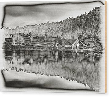 Lake House Reflection Wood Print by Ron White