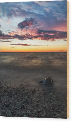 Lake Ontario Sunset Wood Print by Mark Papke