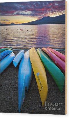 Lake Quinault Kayaks Wood Print by Inge Johnsson