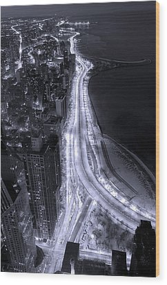 Lake Shore Drive Aerial  B And  W Wood Print by Steve Gadomski