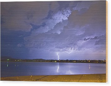 Lake View Lightning Thunderstorm Wood Print by James BO  Insogna