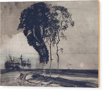 Landscape With Three Trees Wood Print by Victor Hugo
