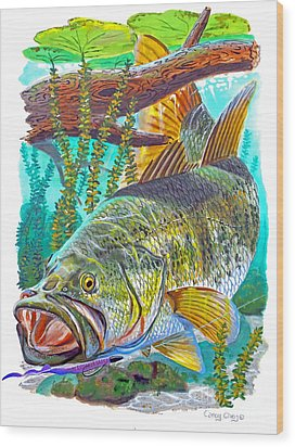 Largemouth Bass Wood Print by Carey Chen