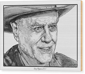 Larry Hagman In 2011 Wood Print by J McCombie