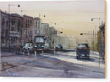 Last Light - College Ave. Wood Print by Ryan Radke