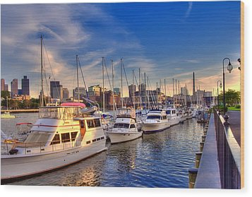 Late Afternoon At Constitution Marina - Charlestown Wood Print by Joann Vitali