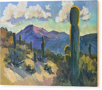 Late Afternoon Tucson Wood Print by Diane McClary