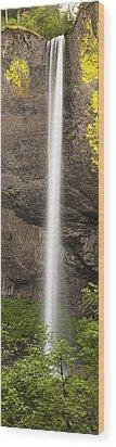 Latourell Falls Panorama Wood Print by Andrew Soundarajan