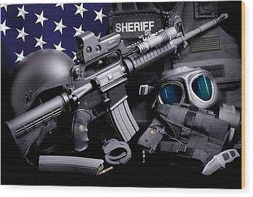 Law Enforcement Tactical Sheriff Wood Print by Gary Yost