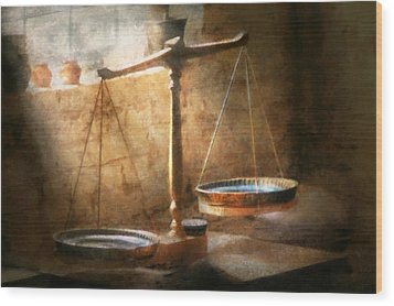 Lawyer - Scale - Balanced Law Wood Print by Mike Savad