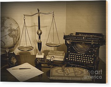 Lawyer - The Lawyer's Desk In Black And White Wood Print by Paul Ward