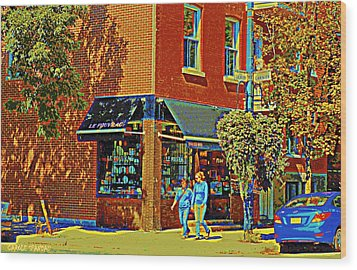 Le Fouvrac Foods Chocolates And Coffee Shop Corner Garnier And Laurier Montreal Street Scene Wood Print by Carole Spandau
