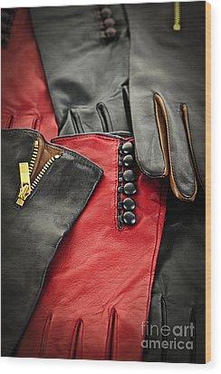 Leather Gloves Wood Print by Elena Elisseeva