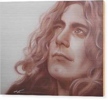 Robert Plant - ' Leaves Are Falling All Around ' Wood Print by Christian Chapman Art
