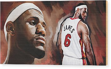 Lebron James Artwork 2 Wood Print by Sheraz A