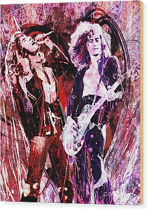 Led Zeppelin - Jimmy Page And Robert Plant Wood Print by Ryan Rock Artist