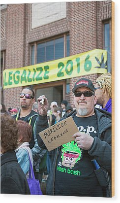 Legalisation Of Marijuana Rally Wood Print by Jim West