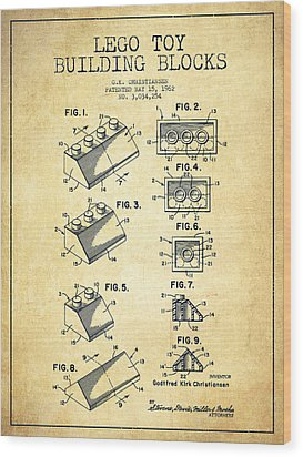 Lego Toy Building Blocks Patent - Vintage Wood Print by Aged Pixel