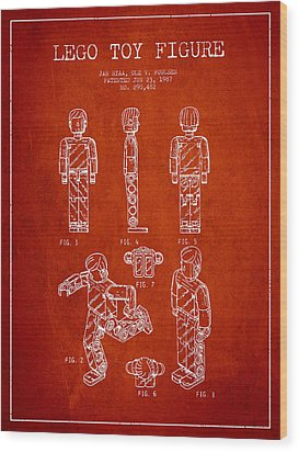 Lego Toy Figure Patent - Red Wood Print by Aged Pixel