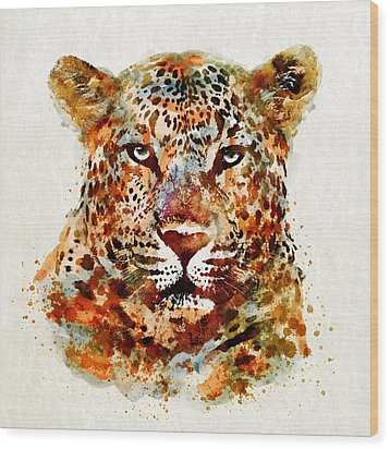 Leopard Head Watercolor Wood Print by Marian Voicu