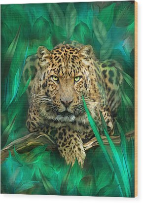 Leopard - Spirit Of Empowerment Wood Print by Carol Cavalaris