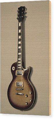 Les Paul Electric Guitar Wood Print by Bill Cannon
