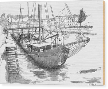 Les Quais De Paris - Black Ink Wood Print by Nicolas Jolly