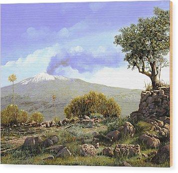 l'Etna  Wood Print by Guido Borelli