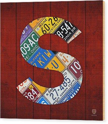 Letter S Alphabet Vintage License Plate Art Wood Print by Design Turnpike