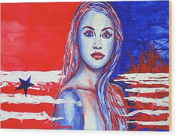 Liberty American Girl Wood Print by Anna Ruzsan