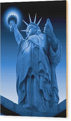 Liberty Shines On In Blue Wood Print by Mike McGlothlen