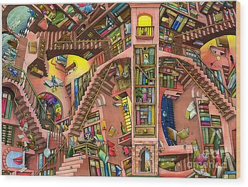 Library Wood Print by Colin Thompson